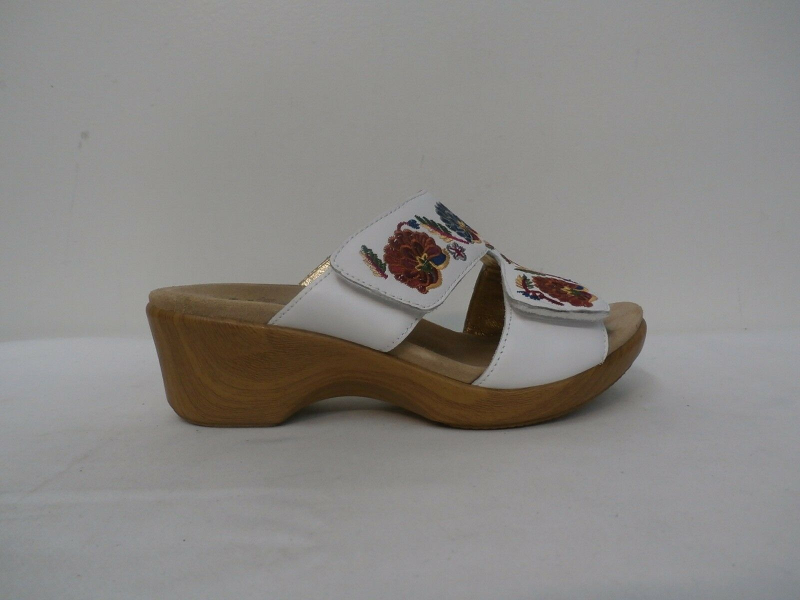 Alegria Embroidered Leather Slip-on Wedge Sandals - Linn WHITE NEEDLED & PINS 38