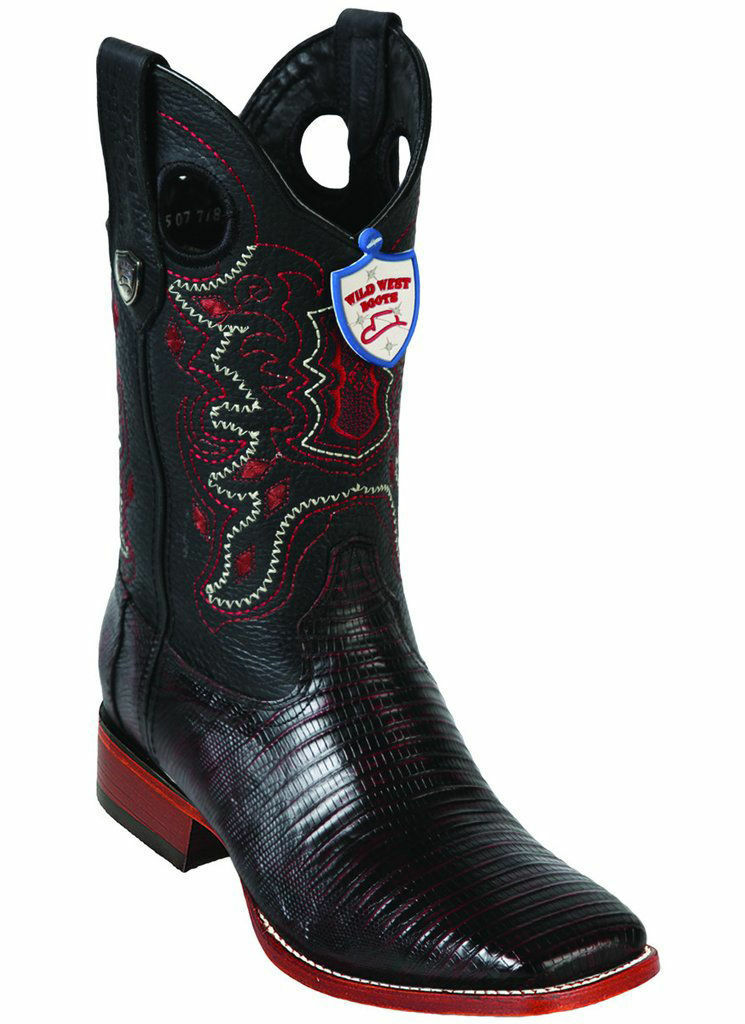 WILD WEST CHERRY GENUINE TEJU LIZARD COWBOY Stiefel RANCH-WIDE SQUARE-TOE (EE)