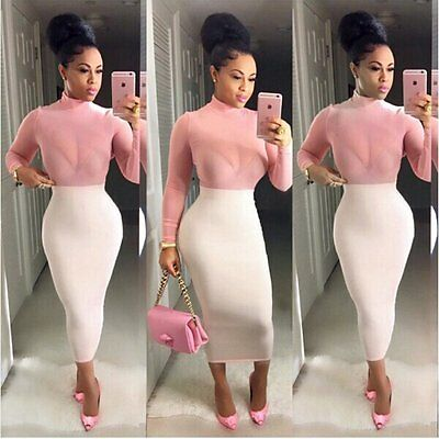 Women Sexy Summer Bodycon Evening Cocktail Party Long Sleeve Pink Mini Dress