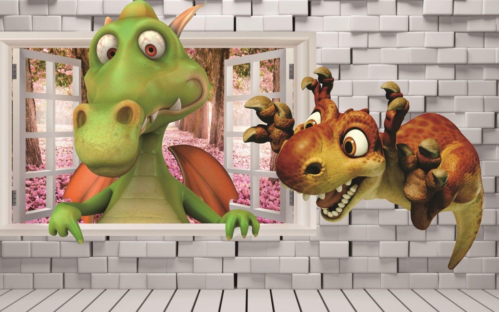 3D Karikatur Dinosaurier 7988 Tapete Wandgemälde Wandgemälde Wandgemälde Tapeten Bild Familie DE Lemon | Treten Sie ein in die Welt der Spielzeuge und finden Sie eine Quelle des Glücks  a3deb3
