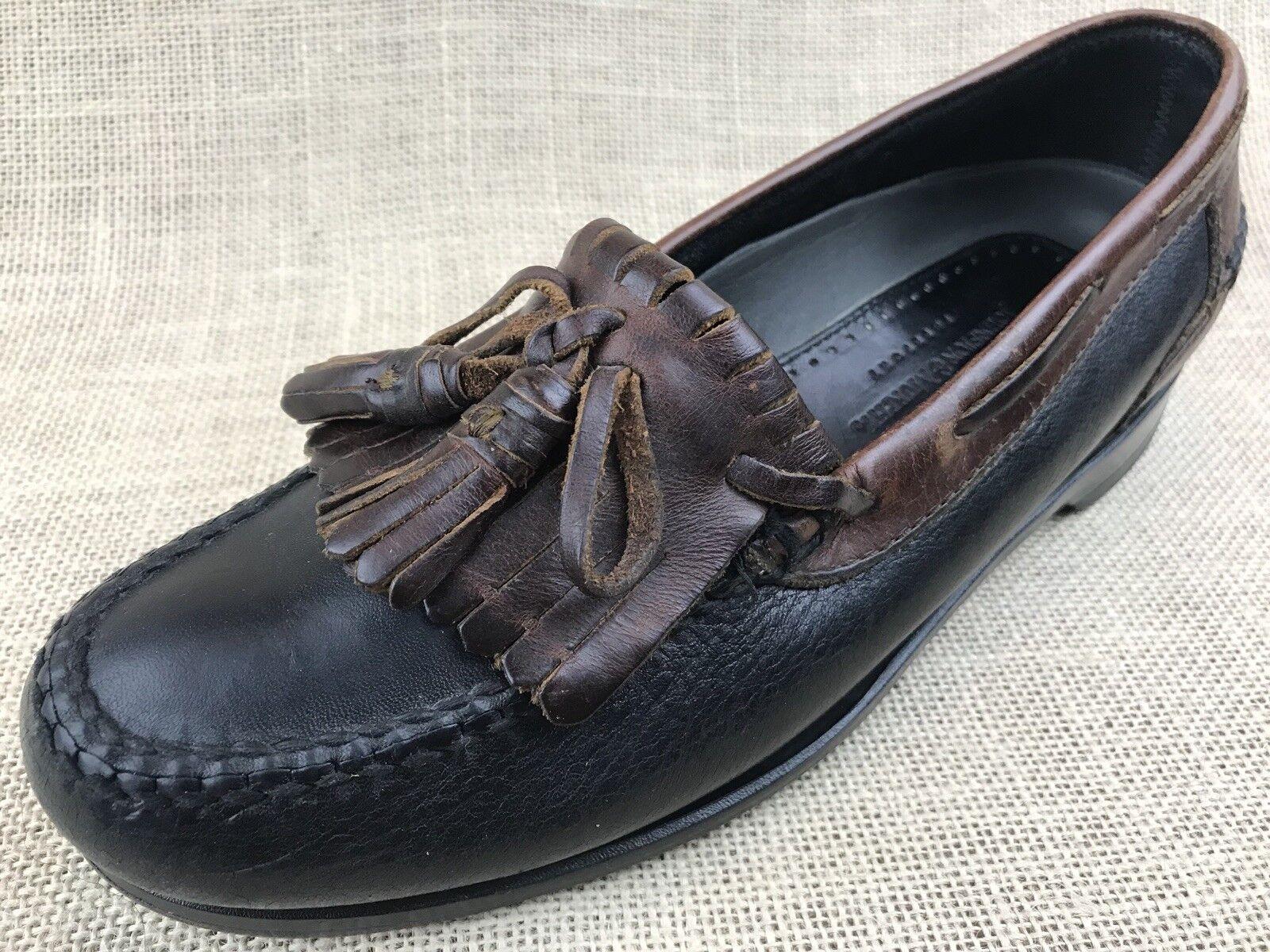 Men's JOHNSTON & MURPHY Loafer Leather 7.5 Tassels Kiltie Slip Black 7.5 Leather M 62eed3