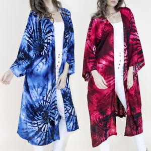 Women's Kimono Bathing Suit Beach Cover Up Swimsuit Wrap Shawl Tie-Dye Pattern
