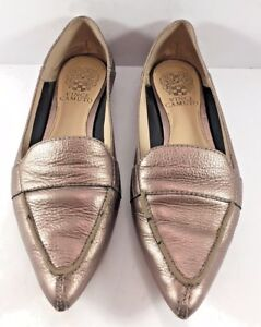 20985ebfbf1 Vince Camuto Pewter Leather Maita Pointy Toe Flats Womens Size US ...