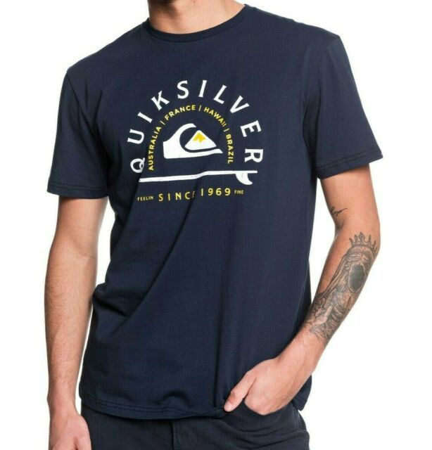 QUIKSILVER MENS T SHIRT.NEW LOST SUN NAVY BLUE COTTON SHORT SLEEVED TOP 9W 99BY