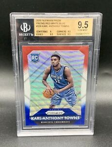 2015-Karl-Anthony-Towns-Rookie-Prizm-Refractor-Red-White-Blue-Gem-Mint-BGS-9-5