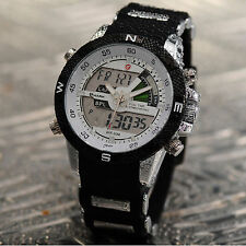 SHARK Fashion Mens LCD Digital Date Day Rubber Military Quartz Wrist Sport Watch