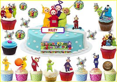 Astonishing Teletubbies Cup Cake Scene Kid Toppers Birthday Party Rice Wafer Birthday Cards Printable Nowaargucafe Filternl