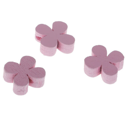 100pcs Flower Wooden Loose Beads Charms for DIY Bracelet Necklace Pink 15mm