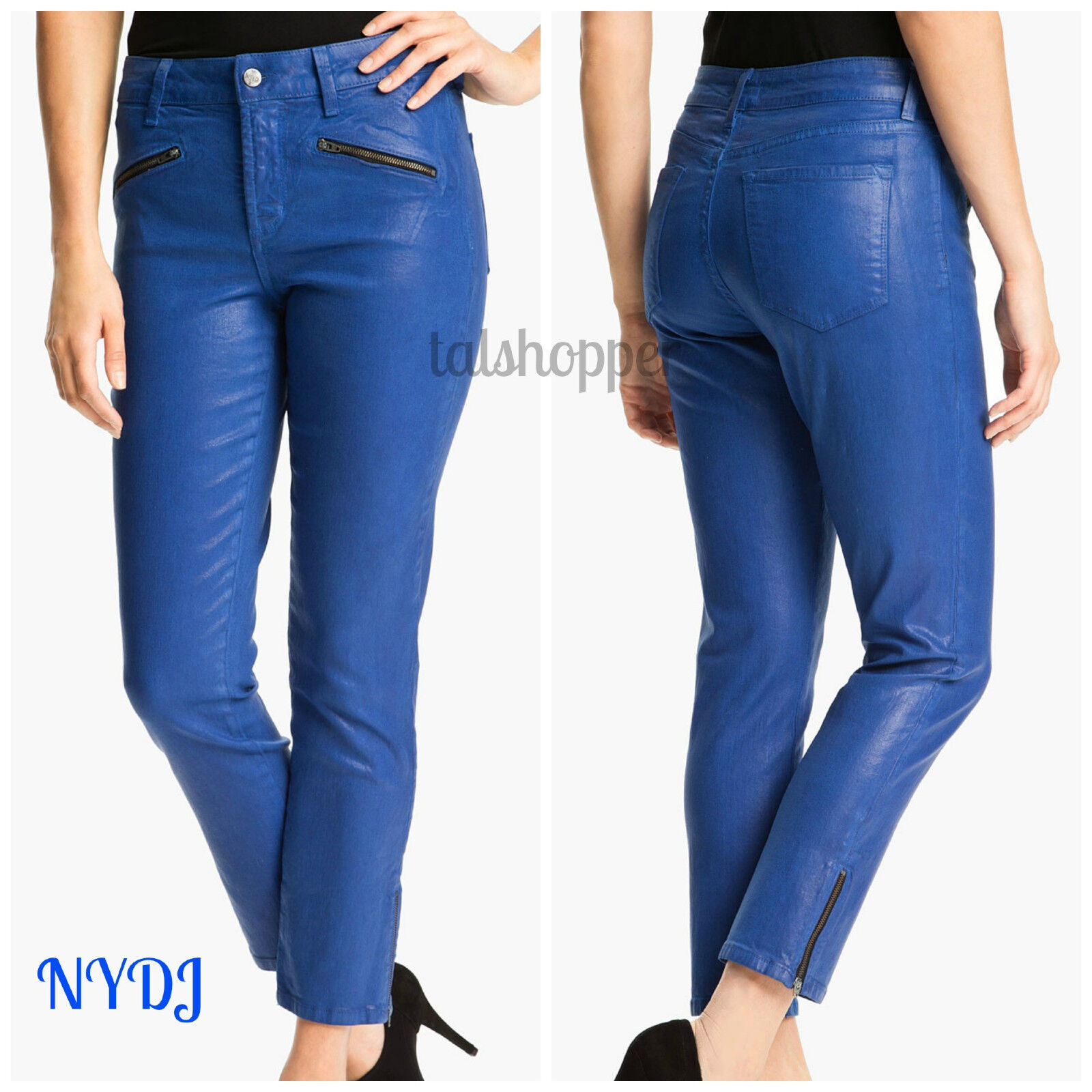 NYDJ NOT YOUR DAUGHTERS JEANS Angelina Coated Skinny Denim Jeans Leggings NWT 2