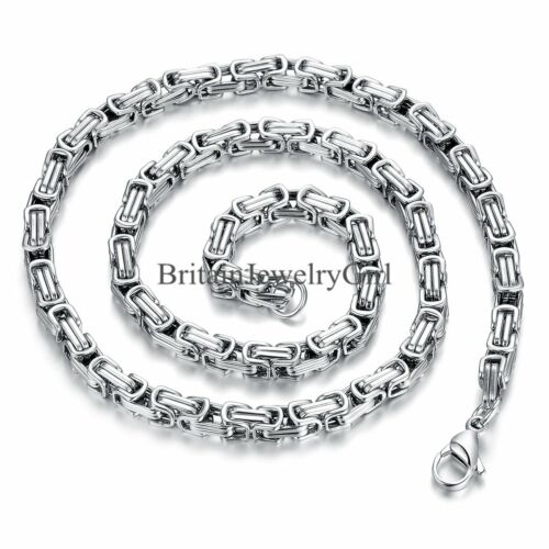 """22/"""" Biker Stainless Steel Link 5MM Byzantine Chain Necklace for Men Boys Gift"""