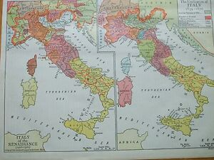 Antique Print 1926 Map Unification Of Italy 1859 1870 Ranaissance
