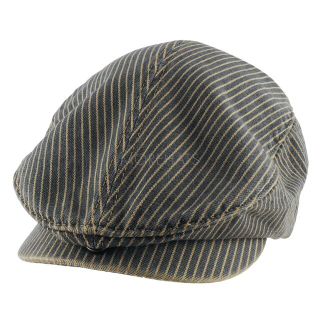 Mens Womens Unisex Summer Striped Gatsby Golf Cotton Newsboy Cabbie Cap Hat
