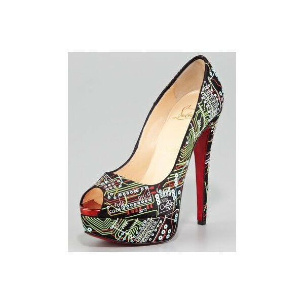 100% AUTH NEW WOMEN LOUBOUTIN LADY PRIVE PEEP GEEK PLATFORM PUMPS HEELS US 6