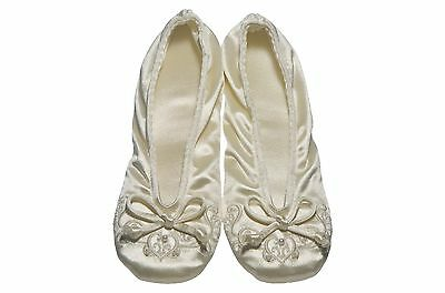 isotoner Womens Embroidered Pearl Satin Ballerina Slippers