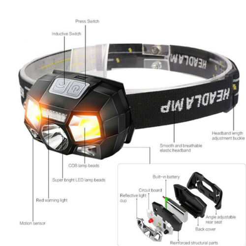 50000LM COB LED Headlamp USB Rechargeable Headlight Head Torch White Red Light