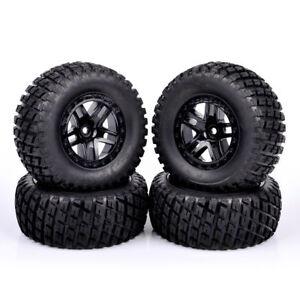 4X-12mm-Hex-Short-Course-Rubber-Tires-amp-Wheel-Rim-For-TRAXXAS-SlASH-RC-1-10-Truck