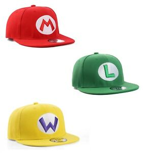 Super-Mario-Luigi-amp-Wario-Snapback-Baseball-Cap-Hat-Triple-Pack
