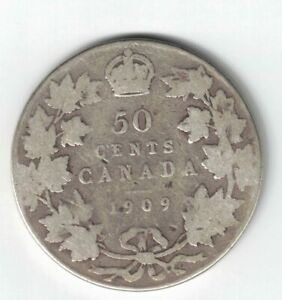CANADA-1909-50-CENTS-HALF-DOLLAR-KING-EDWARD-VII-STERLING-SILVER-CANADIAN-COIN