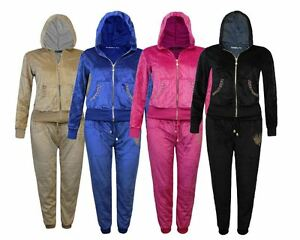 82baf6dd8b3 Ladies Womens Velour Jogging Rhinestone Lounge Suit Tracksuit Hoodie ...