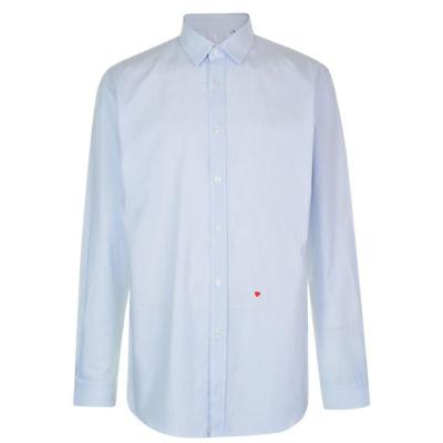 """100% Vero Moschino Camicia X1b – A Righe Blu E Bianco Sul Petto - 39/40"""" - Nuovissimo Con Etichetta-mostra Il Titolo Originale"""