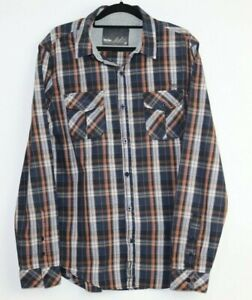 Mossimo Men's Long Sleeve Check Button Up Shirt Blue Orange Size M