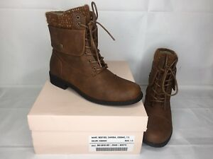 Details about Just Fab Carissa Cognac Brown Womens Booties Boots Sz 7.5 NEW NIB