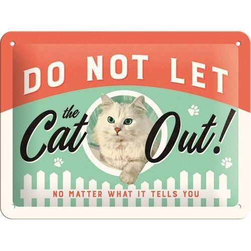 PLAQUE EMAILLEE NEUVE 15 X 20 cm VINTAGE CAT CHAT DECO