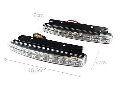 AUTO DECORATIVE ACCESSORIES 2PCS 8 LED DRL Daytime Running Light Car White Light