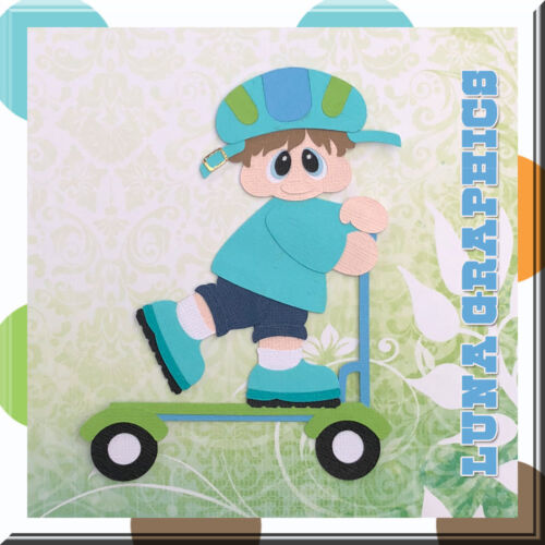 BOY RIDING SCOOTER Embellishment card making /& scrapbooking NOT FOR RESALE