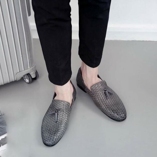 Mens Leather Casual Pointy Toe Shoes Dress Formal Tassel Slip on Driving Loafers