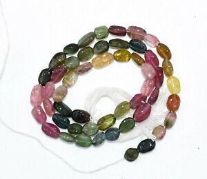 Natural-Watermelon-Multi-Tourmaline-Gemstone-3-4-MM-Smooth-Oval-Beads-13-034-Long