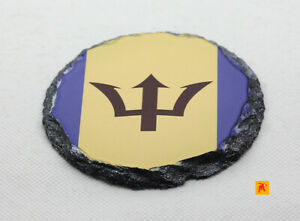 Barbados-Flag-Round-Slate-Coaster-with-Natural-Edge