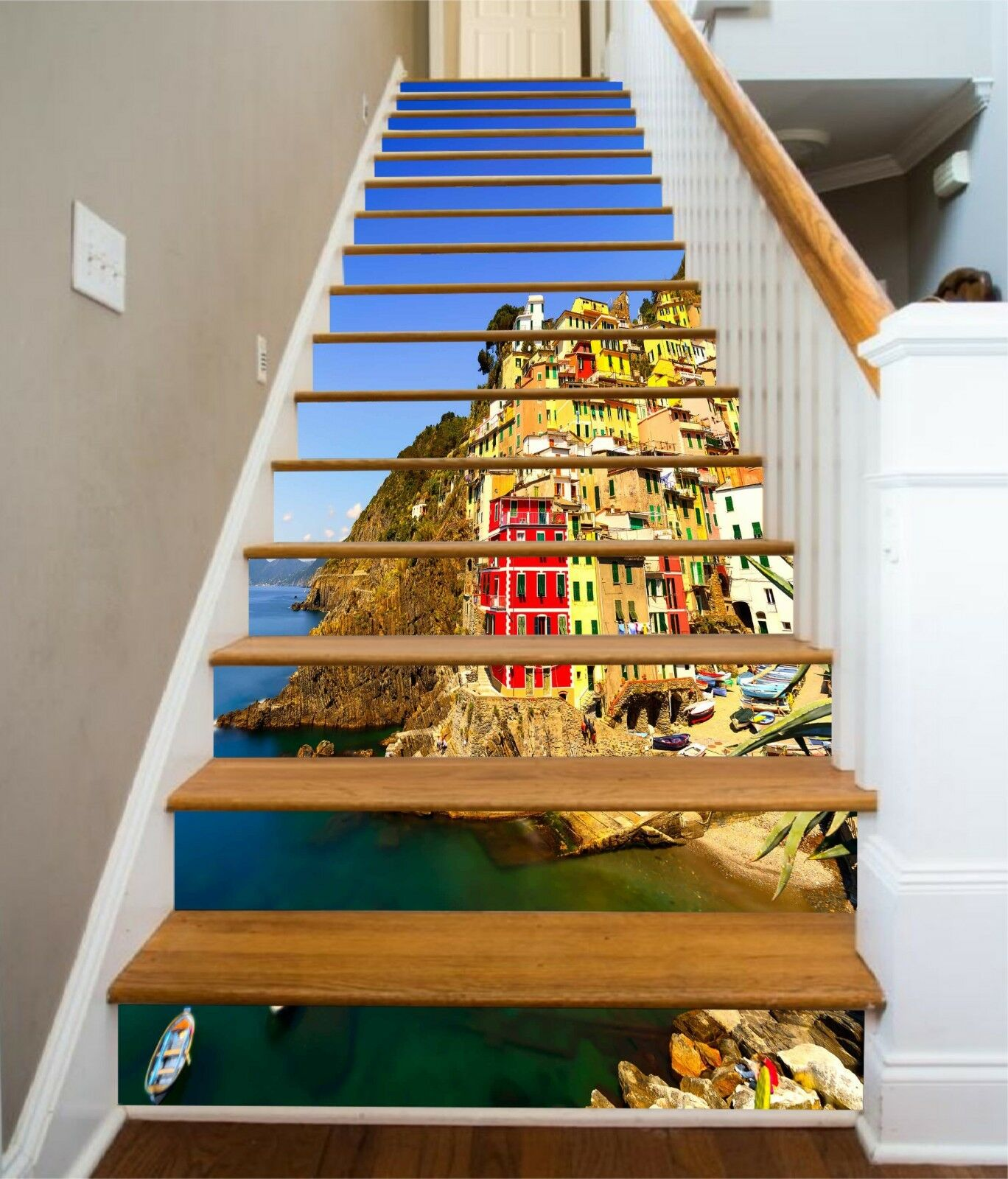 3D Küstenstadt 1320 Stair Risers Dekoration Fototapete Vinyl Aufkleber Tapete DE