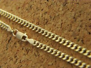 Real-14Kt-Yellow-Gold-3mm-Diamond-Cut-CURB-link-Cuban-Chain-Necklace-Lobster-14k