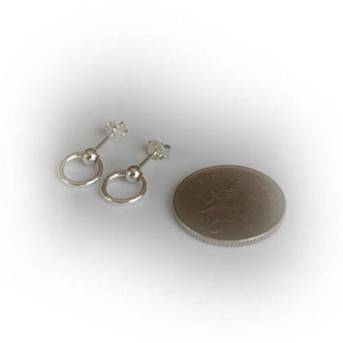 Solid 925 Sterling Silver Small Ball Stud Hoop Earrings Sleepers