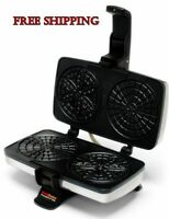Pizzelle Chef Maid Non Stick Cookie Maker Iron Bake Baker Machine Cook Heat Fast