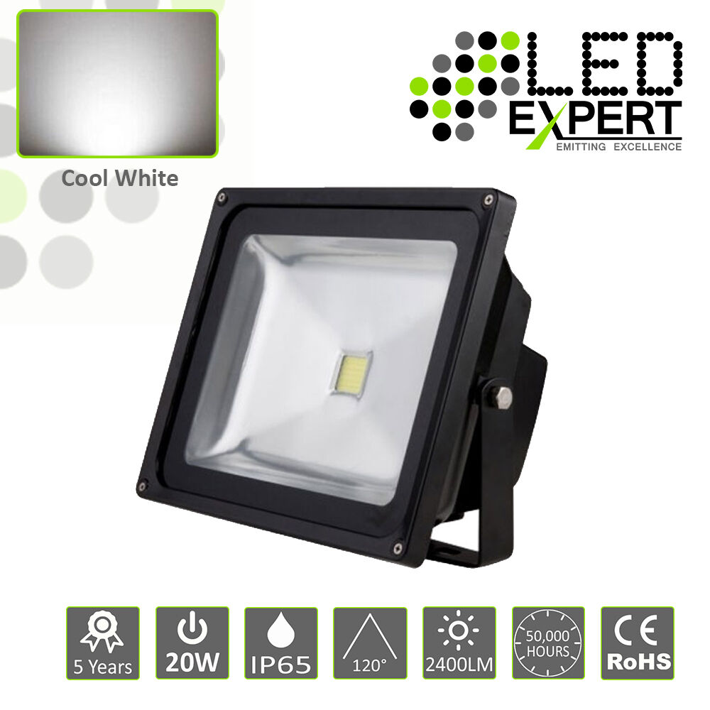 4 X Led 20w LED Luz De Inundación Seguridad Expert 5 año garantía IP65 blancoo frío CE