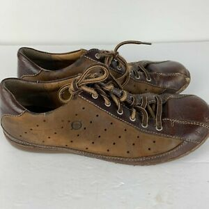 Born-Mens-Size-10-42-Bicycle-Toe-Sneakers-Lace-Up-Oxfords-Tan-Brown-Leather