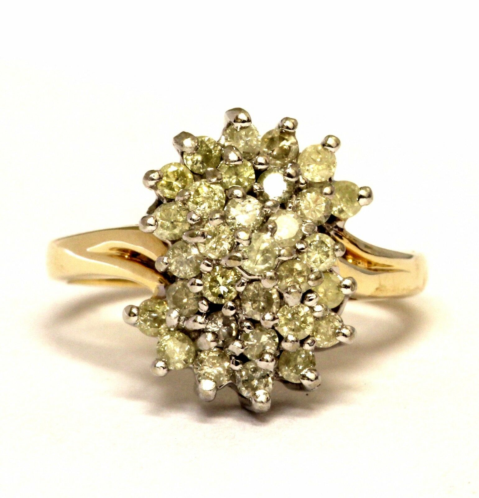 14k yellow gold .84ct womens I3 J-K diamond cluster ring estate 5.5g vintage