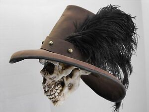 b69bb0c4aea Image is loading Conquistador-brown-leather-hat-pirate-feather-costume- reenactment-