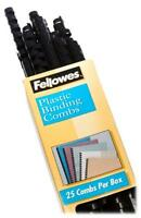 Fellowes Plastic Comb Binding Spines, 1/2 Inch Diameter, Black, 90 Sheets, 25 Pa