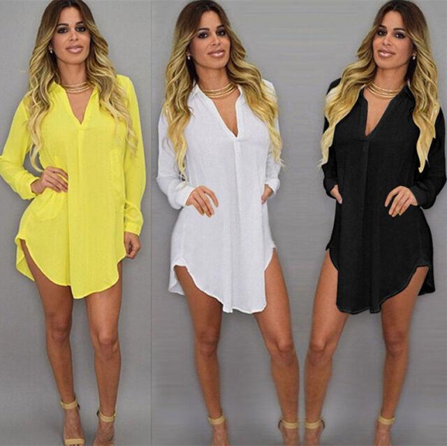 AU Plus Size Women's Chiffon V Neck T Shirt Long Sleeve Loose Tops Blouse Dress