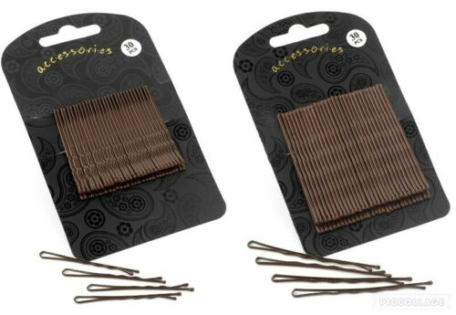 30pc Hair Pins Grips Clips Slide Waved Bobby Festival Brown Black Gold Silver UK
