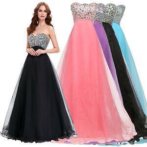 Beaded Long Formal Wedding Ball Gown Masquerade Evening Prom Bridesmaid Dresses