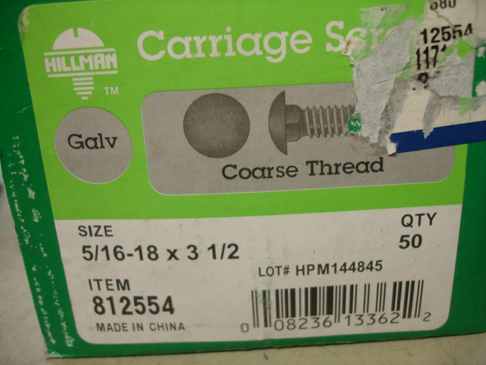 Hot Dipped Galvanized Carriage Bolts 5//16-18 x 3-1//2 500pc