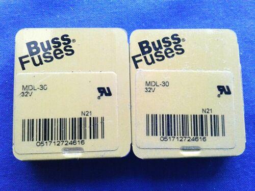 Buss 30 Amp Glass Tube Fuses # MDL-30 2 Packs of 5