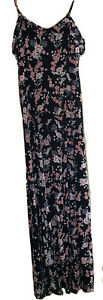 New-Look-Women-s-Pink-And-Black-Floral-Maxi-Dress-With-Side-Splits-Size-6-Ladies