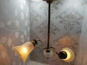 Antuique français en laiton massif verre givré Lustre Art Déco Plafonnier Luminaire