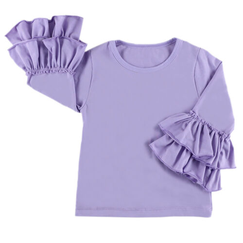 Baby Girls Ruffle Icing Long Sleeve Basic T-shirt Blouse Casual Shirt Boutique