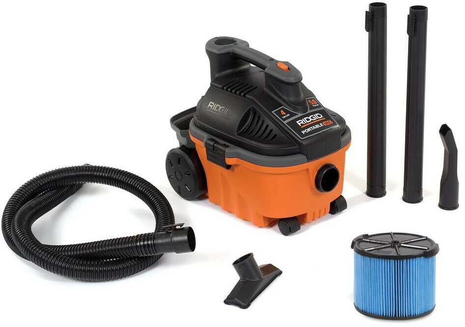 RIDGID Vacuum Cleaner Wet Dry Vac Floor Cleaning 4 Gallon 5.0 Peak HP Portable